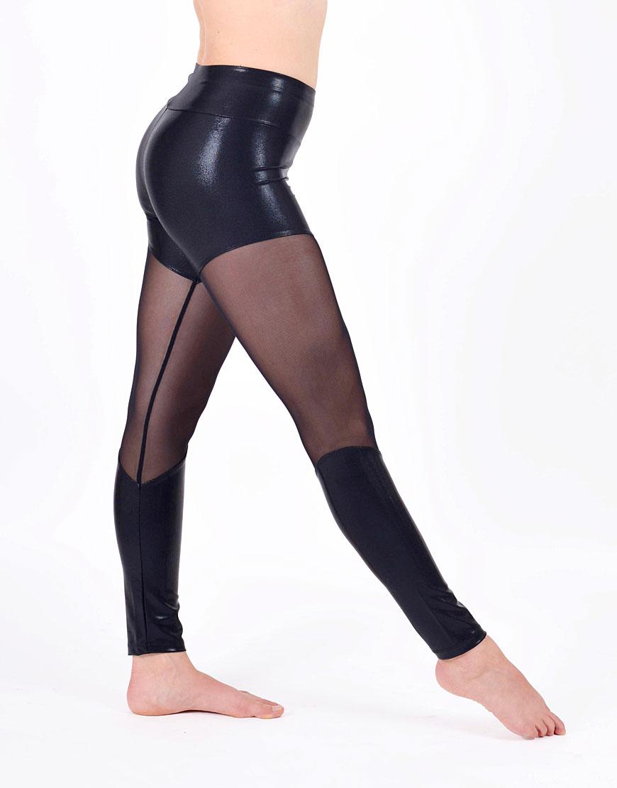 Long Leggings - Shiny Black with Black net