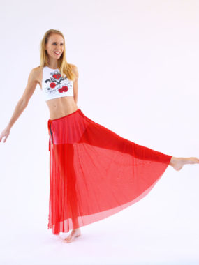 boomkats pole dance skirt long red 2
