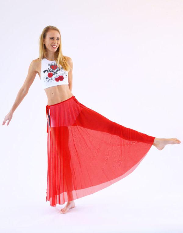 boomkats pole dance skirt long red 2