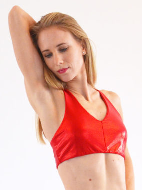 boomkats pole dance top genie shiny red 1