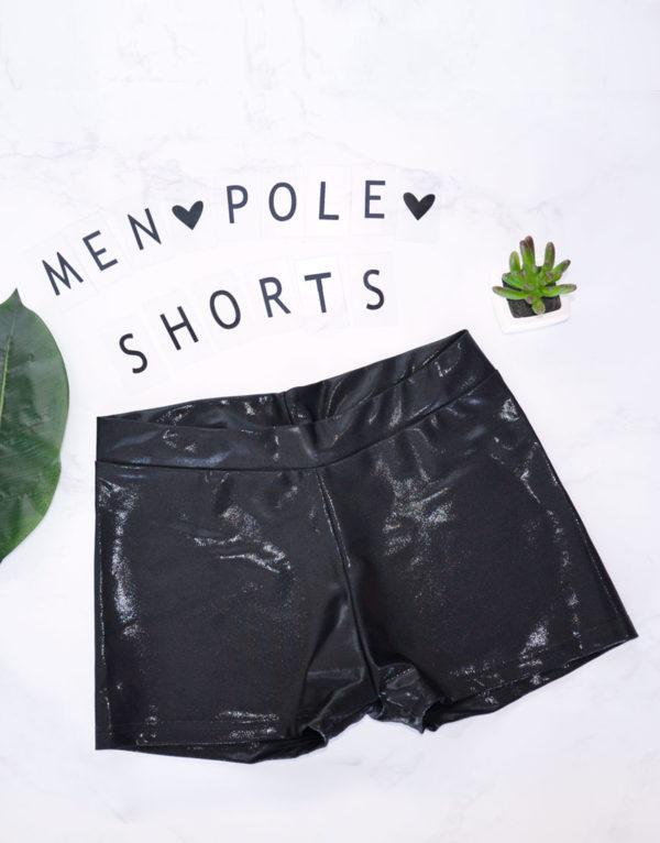 mens pole dance shorts shiny black