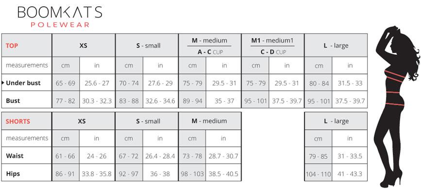size chart boomkats pole wear