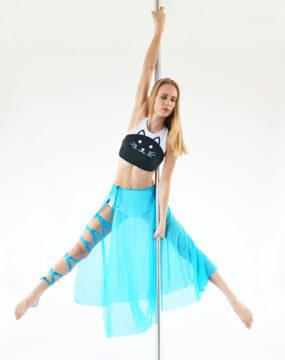 boomkats leg wrap pole dance skirt long light blue 1