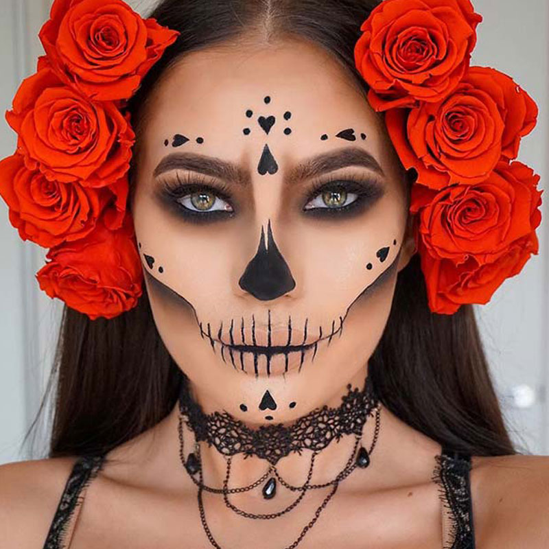 Halloween Costume and Makeup Ideas boomkats red roses makeup